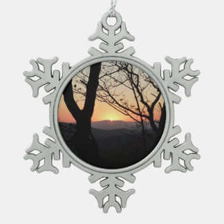 Shenandoah Sunset National Park Landscape Snowflake Pewter Christmas Ornament