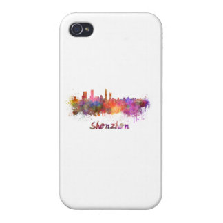 Shenzhen skyline in watercolor cases for iPhone 4