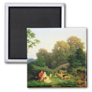 Shepherd and Shepherdess in a German landscape Square Magnet