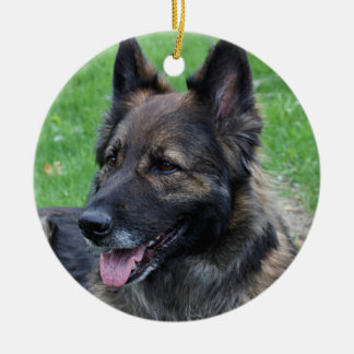 Shepherd dog round ceramic ornament