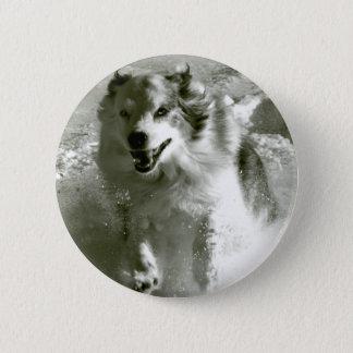 Shepherd Dog Running In Snow, 2 Inch Round Button