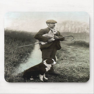 """Shepherd With Border Collie and Lamb""~Mousepad Mouse Pad"