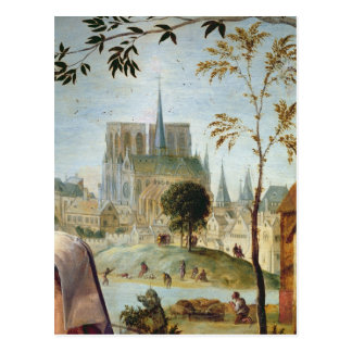 Shepherd with flock and bathers postcard