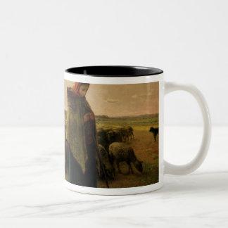 Shepherdess with her Flock, 1863 Two-Tone Coffee Mug