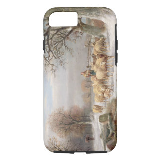 Shepherdess with her Flock in a Winter Landscape ( iPhone 7 Case