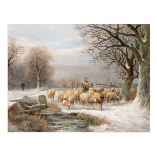 Shepherdess with her Flock in a Winter Landscape ( Postcard