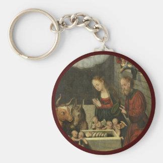 Shepherds Adoring Baby Jesus by Cranach Keychain