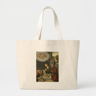 Shepherds Adoring Baby Jesus by Cranach Large Tote Bag