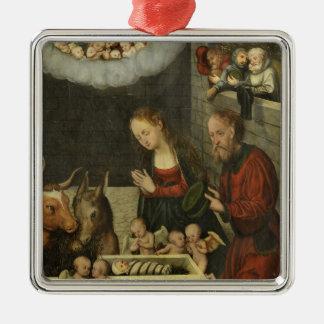 Shepherds Adoring Baby Jesus by Cranach Metal Ornament
