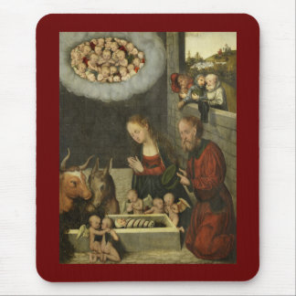 Shepherds Adoring Baby Jesus by Cranach Mouse Pad