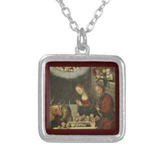 Shepherds Adoring Baby Jesus by Cranach Silver Plated Necklace