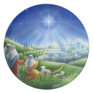 Shepherds Come to Bethlehem Melamine Plate