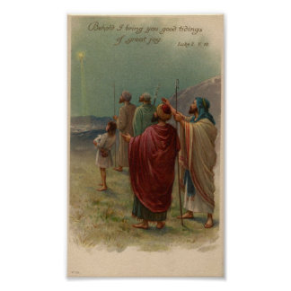 Shepherds Gazing Above Holiday Poster