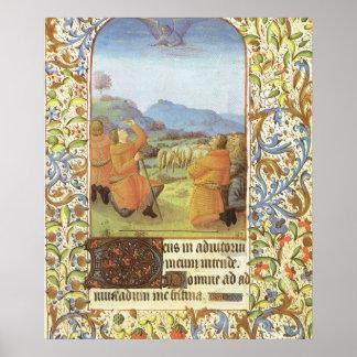 Shepherds in the fields near Bethlehem, medieval Poster