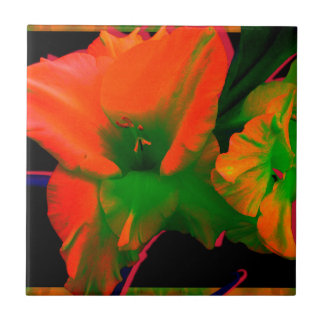 Sherbert Gladiolus Flowers Ceramic Tiles