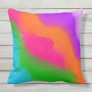 Sherbet Neon Watercolors Outdoor Pillow