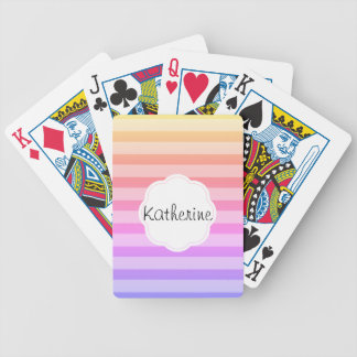 Sherbet Rainbow Stripes Bicycle Playing Cards
