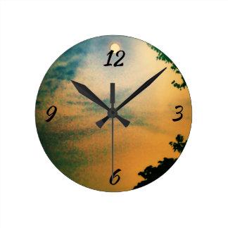 Sherbet Sunset Round Clock