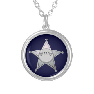 Sheriff Badge Star Officer Design Silver Plated Necklace