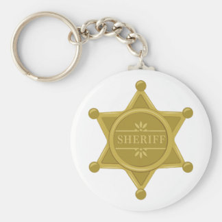 Sheriff Basic Round Button Keychain