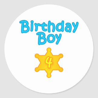 Sheriff Birthday Boy 4 Classic Round Sticker