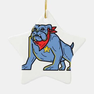 Sheriff Bulldog Standing Guard Mono Line Art Ceramic Ornament
