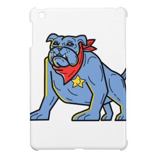 Sheriff Bulldog Standing Guard Mono Line Art Cover For The iPad Mini