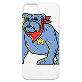 Sheriff Bulldog Standing Guard Mono Line Art iPhone 5 Case