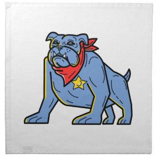 Sheriff Bulldog Standing Guard Mono Line Art Napkin