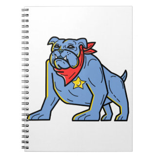 Sheriff Bulldog Standing Guard Mono Line Art Notebook