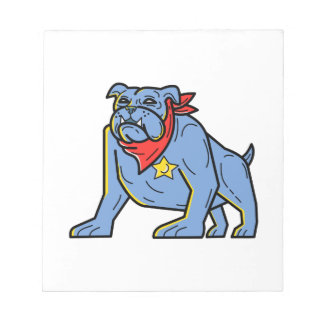 Sheriff Bulldog Standing Guard Mono Line Art Notepad