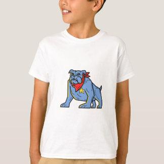 Sheriff Bulldog Standing Guard Mono Line Art T-Shirt