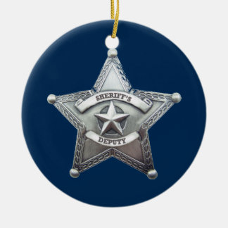 Sheriff Deputy Badge Ceramic Ornament
