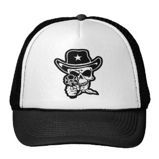 Sheriff Skull With Pistol Trucker Hats