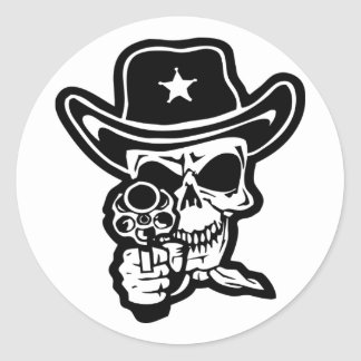Sheriff Skull With Pistol Round Sticker