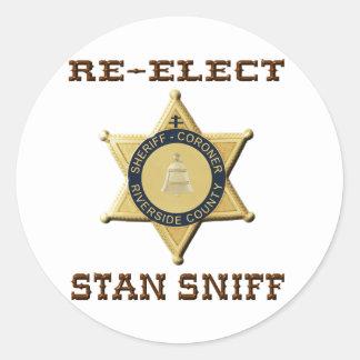 Sheriff Sniff Round Sticker