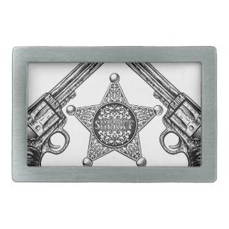 Sheriff Star Badge and Crossed Pistols Belt Buckles
