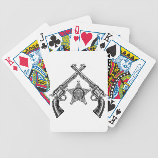 Sheriff Star Badge and Crossed Pistols Bicycle Playing Cards
