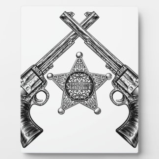 Sheriff Star Badge and Crossed Pistols Plaque