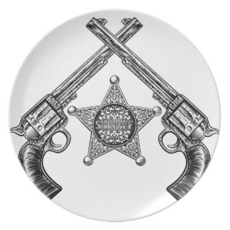 Sheriff Star Badge and Crossed Pistols Plate