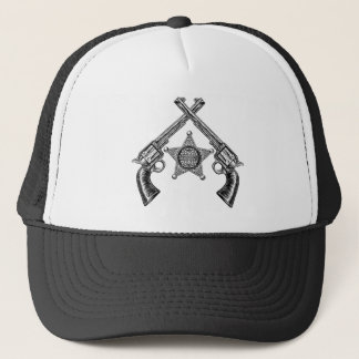 Sheriff Star Badge and Crossed Pistols Trucker Hat