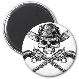 Sheriff Star Badge Cowboy Hat Skull and Pistols Magnet