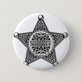 Sheriff Star Badge Engraved Style 2 Inch Round Button