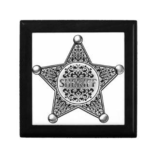 Sheriff Star Badge Engraved Style Gift Box