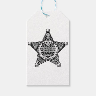 Sheriff Star Badge Engraved Style Gift Tags