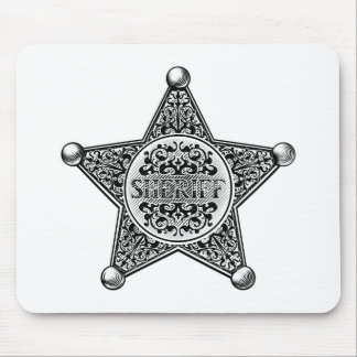 Sheriff Star Badge Engraved Style Mouse Pad