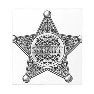 Sheriff Star Badge Engraved Style Notepad
