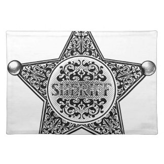 Sheriff Star Badge Engraved Style Placemat