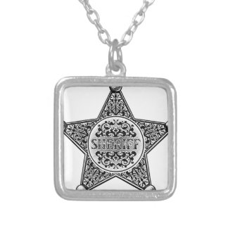 Sheriff Star Badge Engraved Style Silver Plated Necklace