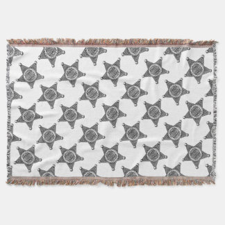 Sheriff Star Badge Engraved Style Throw Blanket